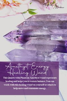 This Quartz with Phantom Amethyst wand represents healing and helps you to restore balance. You can work with this healing wand on yourself or others to help move and transmute energy.