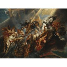 "Peter Paul Rubens ""The Fall of Phaeton"" Oil on canvas Baroque Located in the National Gallery of Art in Washington DC, United States Phaeton, son of the sun god Helios, asked his. Peter Paul Rubens, Baroque Painting, Baroque Art, Italian Baroque, Caravaggio, Rembrandt, Pedro Pablo Rubens, Rubens Paintings, Roman Paintings"