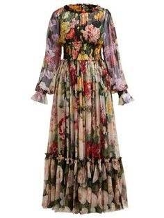 Women gowns 2020 Dolce & Gabbana Rose And Hydrangea Print Silk Georgette Gown - Womens - Multi - Simple Dresses, Beautiful Dresses, Casual Dresses, Dresses With Sleeves, Summer Dresses, Maxi Dresses, Prom Dress, Wedding Dress, Muslim Fashion