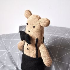 New in store: 'Teddy', a hand-knitted teddybear looking for a new home.