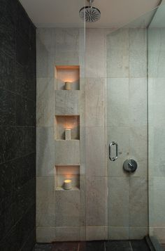 A shower niche is a practical and stylish vessel for all our necessities. A permanent tiled niche not only looks great it won't gather mold as a plastic hanging storage unit can. Bad Inspiration, Bathroom Inspiration, Modern Bathroom Design, Bathroom Interior Design, Bathroom Designs, Bathroom Ideas, Modern Bathrooms, Hotel Bathrooms, Shower Niche