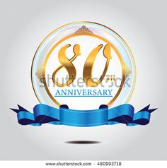 80th anniversary golden logo with blue ribbon and golden ornament