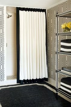 DIY with Duck Fabric ~ Duck fabric is naturally water resistant, so it's perfect for a DIY shower curtain. With a curtain liner, or treated with a waterproofing spray, it works well anywhere in the bathroom.