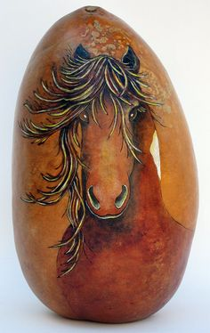 Wild canyon horses gourd vessel by GourdArtbyCyndee on Etsy,