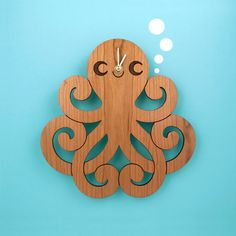 Wood Octopus Wall Clock: Kids Ocean Nursery Theme from graphicspaceswood on Etsy. Ocean Themed Nursery, Nursery Themes, Nursery Ideas, Room Ideas, Space Artwork, Handmade Clocks, Clock For Kids, Ocean Themes, Wooden Walls