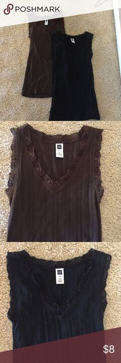 Two gap laced tank tops, brown and black Two gap laced tank tops, size XS, brown and black. Great for layering GAP Tops Tank Tops