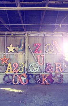 Vintage Marquee Light Wedding Signs