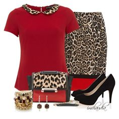 """Leopard and Red"" by imclaudia-1 ❤ liked on Polyvore featuring Rafaella, Dorothy Perkins, Karen Millen, Diane Von Furstenberg, Meira T and River Island"
