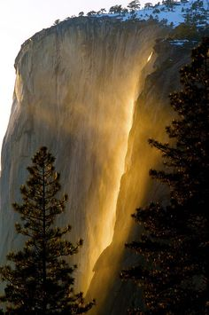 Horsetail Falls, Yosemite photographed by Stan Rapada: Every year for a few days in the month of February, the sun's angle is such, that it lights up Horsetail Falls as if it were on fire.