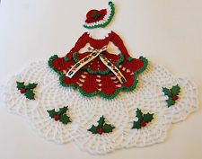 Christmas Crinoline Lady Hand Crochet Doily w Holly / Holiday Southern Belle