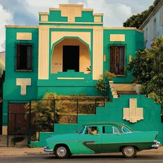 Havana Cuba - This art deco house is an example of the many more modest homes that were built featuring the style moderne popular during this twentieth-century era.
