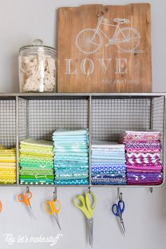 Took my boring sewing space and made it bright and fun, thanks to Loving all the fun details to showcase my space. Small Sewing Space, Sewing Spaces, Sewing Rooms, Small Space, Ribbon Organization, Studio Organization, Discount Upholstery Fabric, Sewing Room Decor, Fabric Sectional