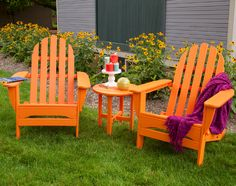 Think Adirondack chairs are only for summer? Think again! - www.landscaperout... #Adirondackchairs #Adirondack #outdoorseating #outdoorchairs #thanksgiving #gardendecor #outdoordecor #backyarddecor #thanksgiving2015 #outdoordining #autumn #fallstyle