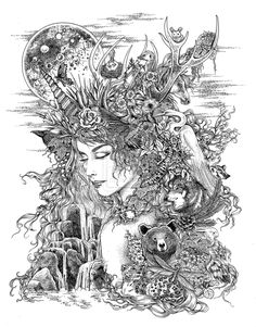 pen and ink on Bristol - a bitof a twiston a classic story. I have been wanting to do a Mad Hatter drawing for awhile and once I got started, the other characters all start. Adult Coloring Pages, Colouring Pages, Coloring Books, Mutter Erde Tattoo, Mother Earth Tattoo, Mother Earth Drawing, Drawing Of Earth, Gaia Goddess, Earth Goddess
