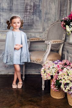 #Cerulian #crepe #dress #cape #embroidered #lace #ostrichfeathers Girls Party Dress, Little Girl Dresses, Girls Dresses, Flower Girl Dresses, Little Kid Fashion, Baby Girl Fashion, Kids Fashion, Kids Frocks, Frocks For Girls