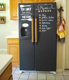 2. Paint Your Refrigerator With Chalkboard Paint!