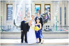Navy and Yellow Wedding Indiana University Showwalter Fountain