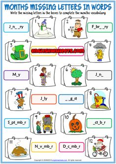 Months Missing Letters In Words ESL Exercise Handout