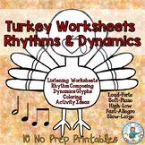 November Music Class Worksheets: Turkey Rhythms and Dynamics
