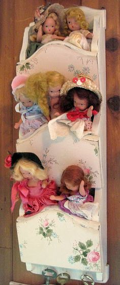 previous pinner says:  Old Nancy Ann Story book dolls. ~KJ~ this is how I display my collection of Nancy Ann's