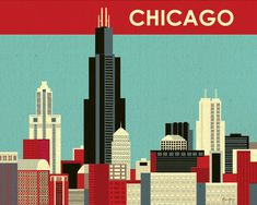 Chicago, Illinois Skyline -  Destination Wall Art Poster Print for Home, Office, and Nursery - style E8-O-CH12. $19.99, via Etsy.