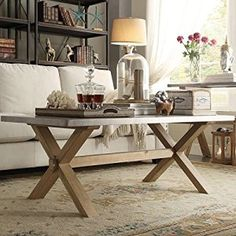 Amazon.com: SIGNAL HILLS Aberdeen Industrial Zinc Top Weathered Oak Uniquely Designed Trestle Coffee Table: Kitchen & Dining