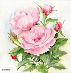 Hey, I found this really awesome Etsy listing at http://www.etsy.com/listing/155184438/pink-roses-original-watercolor-painting