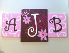 Personalized monogram initials on canvas set of 3 by AddiBdesigns Initial Canvas, Baby Artwork, Arts And Crafts, Diy Crafts, Canvas Ideas, Paint Party, Monogram Initials, Famous Artists, Diy Painting
