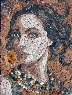 """""""Envisage"""" 55x35cm. marbre, brique, galets, divers...   Made by Patricia Hourcq"""