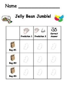 Five Senses - Jelly Bean Jumble Students close eyes and use only sense of taste (eyes closed and pinching nose) to predict color of jelly bean. Make second prediction using sense of taste and smell (eye closed, nose released). Students use sense of sight to check answer. Give students 3 jelly beans, one at a time, of each color.  Use 3 different colors total. Students will color in a jelly bean on the activity sheet for each trial.