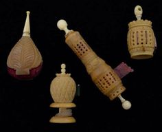Vegetable Ivory Sewing Items. Needle Case, Pin Cushion, Waxer and Tape Measure.