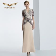 CONIEFOX 31613 champagne sexy short sleeve prom dresses Ladies luxury evening party dress gown robe de soiree  Embroidery