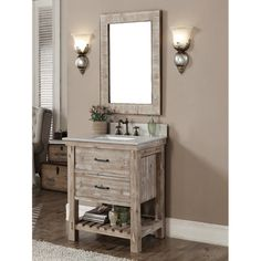 Accos 30 inch Rustic Bathroom Vanity with Matching Wall Mirror http://www.listvanities.com/rustic-bathroom-vanities.html give your interior decor a sophisticated upgrade with this beautiful bathroom vanity. This rustic style bathroom vanity comes with natural stone top with backsplash and white ceramic sink. This vanity set also includes a matching wall mirror. The vanity feathers with one tip out tray and one soft closing drawer with full extension undermount soft close drawer.