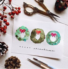 Have you started on your Christmas cards yet? Try these easy watercolor wreaths!, Have you started on your Christmas cards yet? Try these easy watercolor wreaths! Simply paint a lovely red bow and match it to wreaths of different sh. Simple Christmas Cards, Christmas Card Crafts, Homemade Christmas Cards, Christmas Tree Cards, Christmas Art, Handmade Christmas, Christmas Presents, Watercolor Flower, Wreath Watercolor