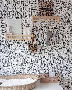 baby room nursery with polka dots wallpaper Baby Bedroom, Baby Room Decor, Nursery Room, Girls Bedroom, Nursery Decor, Monochrome Nursery, Nursery Neutral, Kids Room Design, Little Girl Rooms