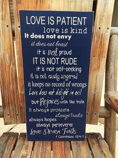 Wedding 1 Corinthians 13:4-7 Custom Wood by FussyMussyDesigns