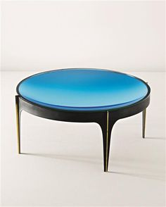 Anonymous; Colored Mirror Glass, Painted Metal and Brass Occasional Table by Fontana Arte, 1950s.
