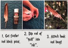 Easy as diy: diy harry potter ornament series part winged key, quill, so Harry Potter Christmas Decorations, Harry Potter Christmas Tree, Hogwarts Christmas, Magical Christmas, Christmas Fun, Handmade Christmas, Décoration Harry Potter, Harry Potter Thema, Harry Potter Birthday