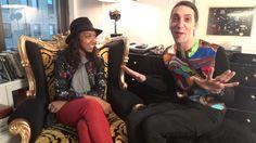 Karen Blanchard of wheredidugetthat.com being interviewed by stylist Andrew Mukamal