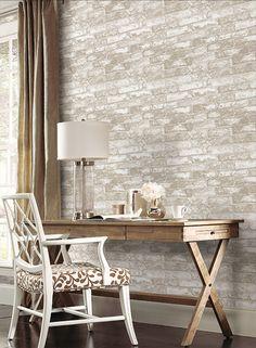 Rustic Brick Wallpaper in Cream design by York Wallcoverings
