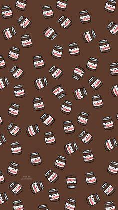 Nutella - My Wallpaper Cute Food Wallpaper, Cute Emoji Wallpaper, Cartoon Wallpaper Iphone, Cute Patterns Wallpaper, Cute Disney Wallpaper, Aesthetic Pastel Wallpaper, Cute Cartoon Wallpapers, Wallpaper Ideas, Fabric Wallpaper