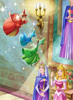 Sleeping Beauty: The Queen, Princess Aurora, Flora, Merryweather, and Fauna. Sleeping Beauty Fairies, Sleeping Beauty Maleficent, Disney Sleeping Beauty, Walt Disney, Disney Art, Aurora Disney, Disney And Dreamworks, Disney Pixar, Disney Characters