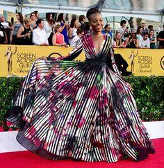 Twirl It, Girl: Lupita Nyong'o's Stunning Watercolor SAG Awards Dress  #InStyle
