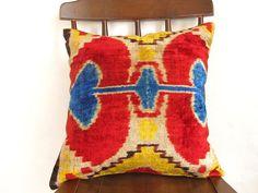 Ikat Velvet Pillow  Kilim Design PillowVelvet Silk by asiapillow, $40.00