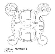 Yin Yang Plan upper level: As shown, the plan encompasses 2,120 sq. ft.on two levels.