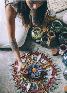 Herb and crystal grid Crystal Magic, Crystal Grid, Crystal Altar, Crystal Shop, Beltane, Meditation Altar, Modern Witch, Witch Aesthetic, Medicinal Plants