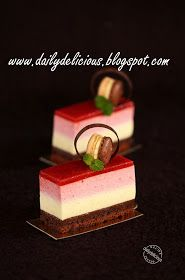 dailydelicious: Inoubliable Amour: Unforgettable love, I don't know about all the meaning associated with each layer but I am interested in consuming this entremets as soon as possible Elegant Desserts, French Desserts, Beautiful Desserts, Mini Desserts, Delicious Desserts, Fancy Cakes, Mini Cakes, Cupcake Cakes, Cupcakes