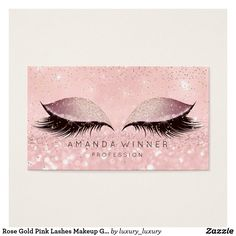 Rose Gold Pink Lashes Makeup Glitter Makeup Business Card