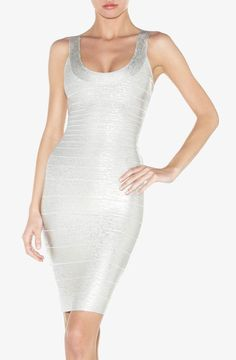 Herve Leger Basic Shimmer Bandage Dress