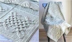 Celtic Tiles Afghan [Free Crochet Pattern] Afghan Crochet Patterns, Crochet Motif, Free Crochet, Knitting Patterns, Afghan Blanket, Baby Blanket Crochet, Crochet Baby, Cute Blankets, Baby Blankets